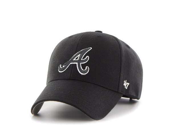 47Brand Atlanta Braves White on Black MVP Snapback Cap