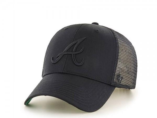 47Brand Atlanta Braves Black on Black MVP Trucker Snapback Cap