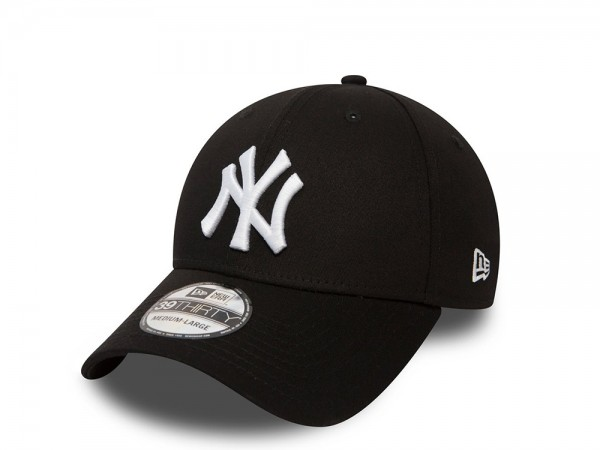 New Era New York Yankees League Basic White on Black Stretch Fit 39Thirty Cap