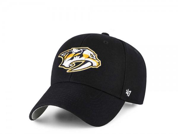 47Brand Nashville Predators MVP Black Strapback Cap