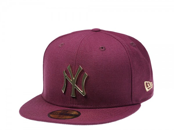 New Era New York Yankees Maroon Gold Metal Edition 59Fifty Fitted Cap
