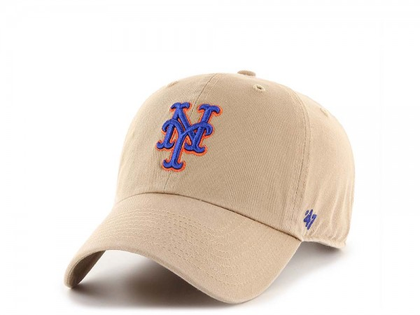 47Brand New York Mets Clean Up Khaki Strapback Cap