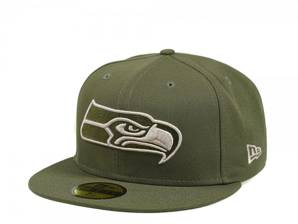 New Era Seattle Seahawks Army Green Edition 59Fifty Fitted Cap